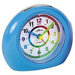Lichtblauwe kinderwekker voor leren klokkijken kind 1967-5A