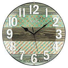 Wandklok met sierprint en houtmotief 5556