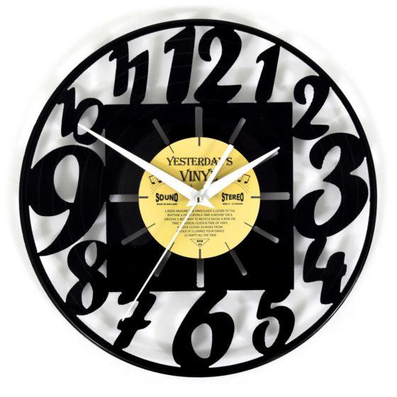 Lp vinyl klok met moderne cijfers 601-3220