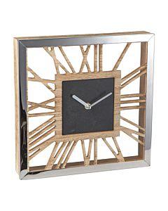 Vierkante wandklok chroom met hout 1803687784